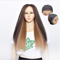 Wholesale medium hairstyles wig cosplay for sale - Group buy Ombre Yaki Synthetic Lace Front Wigs High Temperature Fiber Swiss Lace Wig Kinky Straight Synthetic Hair For American African Cosplay Wigs