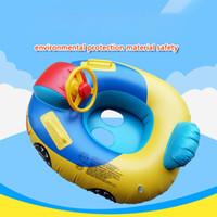 barco de plástico para niños al por mayor-Dibujos animados anillo de natación niño bebé inflable asiento inflable dirección barco con volante cuerno inofensivo PVC plástico coche barco