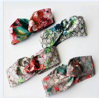 steigung haar großhandel-2019 Luxus G Style 100% Seide Kreuz Stirnband Frauen Mädchen Elastische Haarbänder Retro Turban Headwraps Geschenke Blumen Kolibri Orchidee