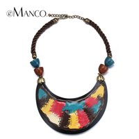 Wholesale resin jewelry painting resale online - eManco Enamel resin necklace rope choker necklaces for women colorful handmade painting statement necklace chic jewelry