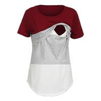 ropa para amamantar al por mayor-Ropa de maternidad para mujeres Ropa de maternidad Lactancia Materna Tops de enfermería Camiseta de manga corta a rayas # 40py