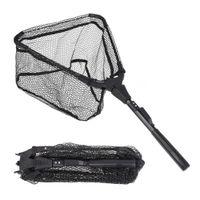 Folding Fish Landing Net Portable Collapsible Triangular Fishing Aluminum alloy Nylon Rubber