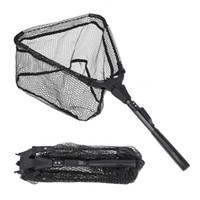 ingrosso rete in alluminio-S / M Rete da pesca pieghevole per pesci Rete da pesca a mosca triangolare pieghevole portatile Pesce in lega di alluminio + nylon + pesca in gomma
