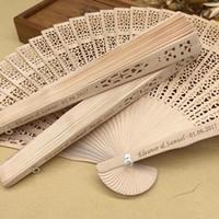 Wholesale ship wedding giveaways resale online - in bulk personalized wood wedding favours fan party giveaways sandalwood folding hand fans