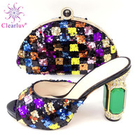 sandalias italianas mujeres al por mayor-2019 Sweet Purple Italian Women shoes and Bags To Match Set Zapatos de fiesta de boda de alta calidad y conjuntos de bolsos para sandalias de boda