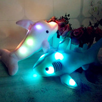 Wholesale pink blue stuffed animals for sale - Group buy LED Plush Toys Pink Blue Light UP Shark Plush Stuffed Animals Dolphin Light Plush Animals Gifts For Birthday