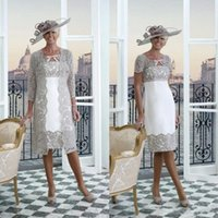 Wholesale custom jacket embroidery for sale - Group buy 2019 Eleagnt Plus Size Mother of The Bride Dresses with Lace Jacket Tea Length Short Sleeves Wedding Guest Dresses