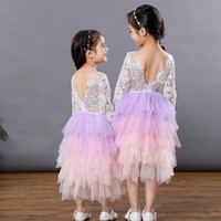 Wholesale spring flowers cake for sale - Group buy Vieeoease Girls Dress Flower Christmas Long Sleeve Lace Tutu Cake Dress Kids Clothes for Autumn Winter CC