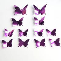 um dia de borboleta venda por atacado-12 pçs / set new espelho sliver 3d borboleta flor adesivos de parede festa de casamento do bebê decoração do quarto diy casa decorações c23