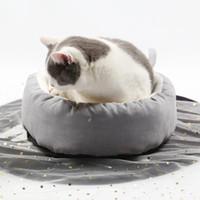 ev tarzı evcil hayvan toptan satış-INS Tarzı Sevimli Yuvarlak Kedi Yatakları Moda Kış Sıcak Yumuşak Pet Mobilya Rahat Evi Kulübesi Yatak Pet Malzemeleri Çapı 36 CM