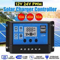 Wholesale solar charging regulator 24v for sale - Group buy 100A A A A Auto Solar Charge Controller LCD Dual USB V Output Solar Panel PV Regulator V V