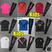 тренировочные костюмы для бега трусцой оптовых-New Psg Спортивный костюм 2019 2020 PSG Розовый футбол для бега Chandal MBAPPE Boys 18 19 Paris Детский футбольный тренировочный костюм Survetement