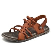 кроссовки сандалии мужчина оптовых-Men Summer Sandals Genuine Leather Casual Shoes Beach Sandals  Flat Outdoor Brown Black Man Walking Sneakers