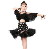 vestir salsa infantil al por mayor-Sexy Hombros fríos Rhinestone Latin Performance Dress Niñas Niños Cintura alta Falda esponjosa Salón de baile Salsa latina Vestido de baile