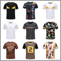 yaka yaka gömlek erkek toptan satış-Iduzi Yaz Daire Yaka Moda Tasarımcısı Marka Mektup Baskı # 1374 erkek Kısa Kollu Rahat T-Shirt Pamuk Slim Fit Erkek Üst T-Sh