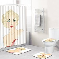 Wholesale sexy women shower for sale - Group buy New Bathroom Sets Sexy Marilyn Monroe Men And Women Bathroom Decoration Shower Curtain Carpet Rug Set Non slip Mat Absorbent Foot Pad