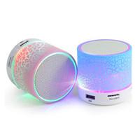 hoparlörlü silikon toptan satış-A9 Bluetooth Hoparlör Mini Kablosuz Hoparlör Çatlak LED TF USB Subwoofer bluetooth Hoparlörler mp3 stereo ses müzik çalar