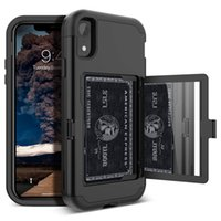 Wholesale card holder mirror resale online - For iPhone Xr Case Wallet Design with Hidden Back Mirror and Card Holder Heavy Duty Shockproof Protective Case for iPhone Xs Max
