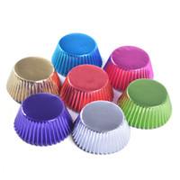 цвета торта оптовых-Круглое ведро для бумажных стаканов для тортов 8 цветов Мини-лоток для торта 100 шт. / Лот Жиронепроницаемая чашка для торта Свадебный держатель для десертов