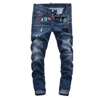 schwarze skinny jeans mode männer großhandel-Neue 2019 Männer zerrissene Denim Tearing Jeans Navy schwarz Baumwolle Mode Enge Frühling Herbst Herrenhose A7908 PHILIPP PLEIN DSQUARED2 DSQ2 D2 Versace