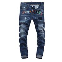 collants de mode jeans achat en gros de-Nouveau 2019 Hommes déchiré Denim Tearing Jeans Marine noir coton mode Tight printemps automne pantalon pour hommes A7908 PHILIPP PLEIN DSQUARED2 DSQ2 D2 Versace