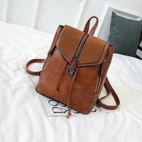 Wholesale external backpack frames resale online - xiniu Women Solid PU Leater Backpacks Flap External Frame Polyester Schoolbags Travel Shoulder Bag Mochila Menina