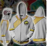 hoodie branco da guarda florestal venda por atacado-BIANYILONG 2019 Nova homens com capuz Outono Power Rangers Força Selvagem Tigre branco 3D impressão Zip Up Moletom Com Capuz roupas hip hop tops