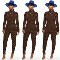 Wholesale sexy women cycling for sale - Group buy Hem split sexy letter print two piece suit women s brown long sleeves tight skinny classic autumn and winter new slim