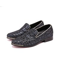 zapatos de vestir a cuadros de los hombres al por mayor-Partido de la noche Glitter hombres visten paty masculino zapatos de baile Plaid Sequin Men Mocasines Moda zapatillas de fumar Slip-on Hombre pisos