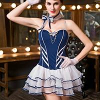mavi hostes toptan satış-JSY mavi hostes kostümleri sıcak erotik havayolu hostes üniforma beyaz dantel kabarcık etek sexy lingerie günaha 9606