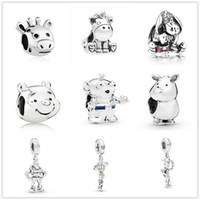 Wholesale bear charms for sale - Group buy MOQ european big hole silver unicorn bear diy charm bead fit Original Pandora Bracelet Jewelry DIY for women J009