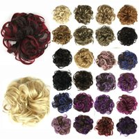 Wholesale rings curly hair resale online - brand new Women DIY Elastic Wig Hair Ring Curly Scrunchie Bun Chignon Ponytail Hairpiece girls hair accessories