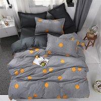 king size xadrez consolador conjuntos venda por atacado-Agarrar orange conjunto de cama crianças xadrez linhas de cama capa de edredão set fronha de solteiro duplo duplo rainha consolador cama king size