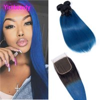 Wholesale blue dyed hair resale online - Malaysian Virgin Hair Bundles With X4 Lace Closure B Blue Straight Human Hair Extensions b Blure Ombre Hair Wefts With Closure