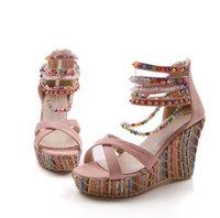 ingrosso tacchi in boemia-Nuovo negozio di apertura di nuove scarpe da donna bohemien sandali con zeppa col tacco alto colore della moda perline catena sandali grossolani sandali scarpe da donna