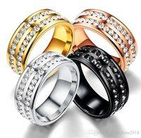 piedra preciosa de cristal rosa al por mayor-Joyería de moda de mayor venta Anique 316 de acero inoxidable chapado en oro rosa CZ Crystal 4 piedras preciosas de color para mujeres, compromiso de boda, anillo de regalo para hombres