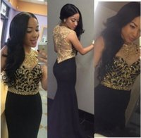 payet balo elbiseleri siyah altın toptan satış-2019 Yeni Siyah ve Altın Mermaid Abiye Kristaller ve Sequins ile Uzun Balo Elbise Robe de Soiree Longue Vestido de dresses