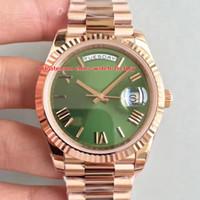relógio automático mens ouro suíço venda por atacado-Super Edition Top Fábrica V8 40mm Dia-Date Presidente 228235 Roman Dial 18K Rose Gold Swiss CAL.3255 Movimento Automático Mens Watch Relógios