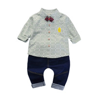 ingrosso pantaloni gialli-Bambini Abbigliamento per bambini Jeans Camicia gialla Maniche lunghe Pantalone bambino Abbigliamento bambino con abito Papera Tie Unicornio