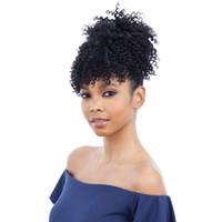 penteados de coque preto venda por atacado-Rabo-de-cavalo afro-americano preto alto sopro com 2 clipes - alta Updo Hairpieces Crespo crespo cabelo humano afro-preto mulheres Bun -Natural Chignon