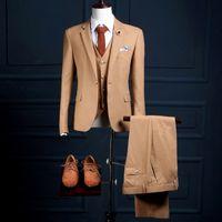 ingrosso maglia di usura del modello-NA18 Nuovo modello personalizzato One Button Khaki Mans abiti da sposa formale abiti su misura (cappotto + pantaloni + vest) Slim Fit Mans smoking