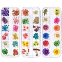 flores secas uñas al por mayor-Mezcla de flores secas Decoraciones de uñas Etiqueta floral natural 3D Dry Beauty Nail Art Decals Gel UV Polaco Accesorios de manicura