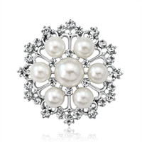 Wholesale austria crystal brooch for sale - Group buy Austria Crystal Brooches For Women Flower Brooch Pin Clothing Accessories Pearl pendant Brooch Bouquet for wedding women