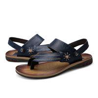 мужская повседневная обувь для лета оптовых-Mens Flip Flops Plus Size 47  Summer Comfortable Genuine Leather Sandals Men Casual Shoes Beach Shoes Native Male Sandals
