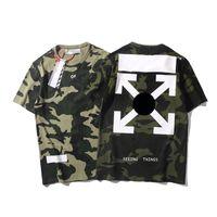 mens fashion usa venda por atacado-OFF marca BRANCO camisa designer EUA famosa tendência moda mens camiseta edição limitada Cruz seta impressão clássico t camisas casal casual tshirt