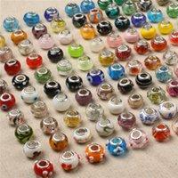 925 gestempelte perlen großhandel-925 Sterling Silber Charm Glasperlen Anhänger Murano Loch Perlen für Pandora Halskette Armband Schmuck DIY Zubehör mit Stempel