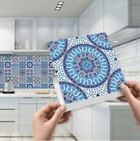 mutfak karoları çıkartmaları toptan satış-Mozaik Çini Sticker Kendinden Yapışkanlı Mavi ve Beyaz Porselen Duvar Sanatı Suya Kiremit Çıkartmalar Mutfak Banyo Mobilya Dekorasyon
