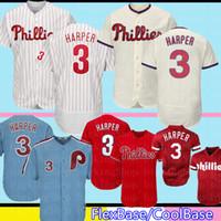 ingrosso pullover di baseball maestoso-Philadelphia 3 Bryce Harper Phillie Jersey 17 Rhys Hoskins 27 Aaron Nola Majestic basso freddo FlexBase Retro Baseball666dadsds