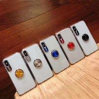estuches telefónicos al por mayor-Claras transparentes de acrílico + TPU 2en1 teléfono Los casos con pie de apoyo anillo del dedo para el iphone 11 xr x MAX 6plus iPhone