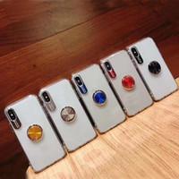 ingrosso casi universali per il telefono blu-Trasparente chiaro TPU 2in1 telefono acrilico + con anello dito kickstand per l'iphone 11 xr xs max per l'iphone 6plus